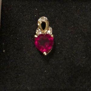 Ruby 10K Yellow Gold Heart-shaped Pendant